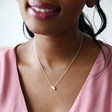 Mother & Baby Double Droplet Necklace in Silver and Gold on Model
