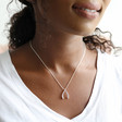 Silver Wishbone Necklace on Model