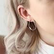 Wavy Organic Shape Drop Stud Earrings in Silver on Model