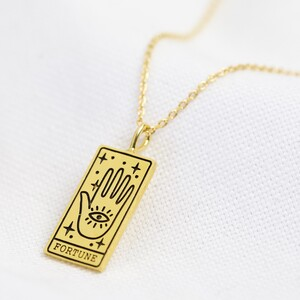 Gold 'Fortune' Tarot Card Pendant Necklace