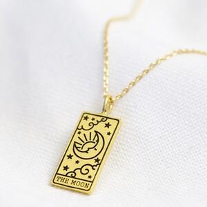 Gold 'The Moon' Tarot Card Pendant Necklace