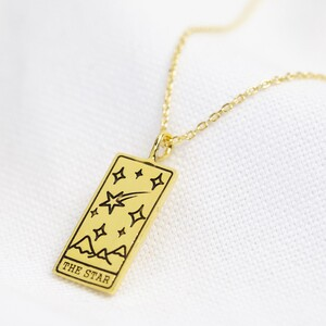 Gold 'The Star' Tarot Card Pendant Necklace