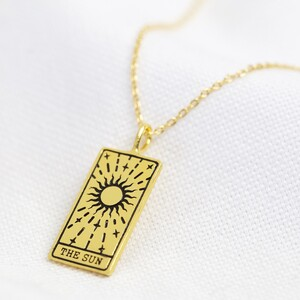 Gold 'The Sun' Tarot Card Pendant Necklace