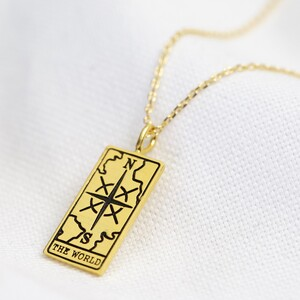 Gold 'The World' Tarot Card Pendant Necklace