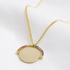 Rainbow Crystal Spinning Disc Necklace
