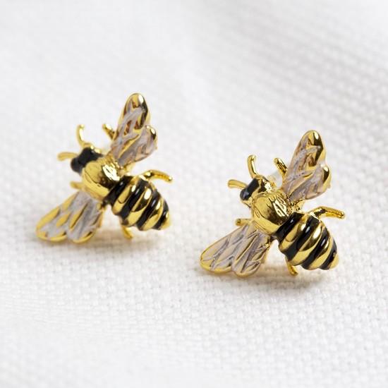 Enamel bee earrings