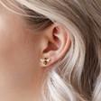 Gold Bumblebee Stud Earrings on Model