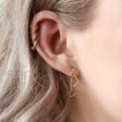 Triple Interlocking Hearts Drop Earrings in GoldTriple Interlocking Hearts Drop Earrings in Gold on Model