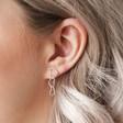 Triple Interlocking Hearts Drop Earrings in Silver on Model