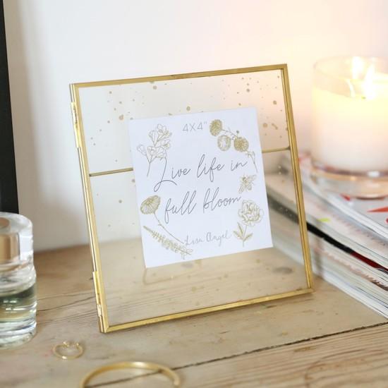 Gold Speckled Glass Photo Frame