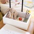 Inside of Personalised Medium White Wooden Box