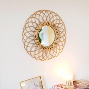 Round Natural Rattan Mirror