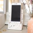Ladies' White Terrazzo Phone Stand