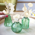 Set of Three Green Glass Bud Vases with Model