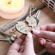 Lisa Angel Engraved Set of 2 Personalised Wooden Half Heart Keyrings