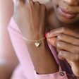 Ladies' Personalised Heart and Birthstone Charm Bracelet on Model