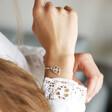 Personalised Sterling Silver Family Names Heart Bracelet on Model