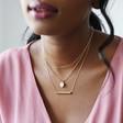 Lisa Angel Ladies' Personalised Layered Pendant Necklaces on Model