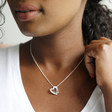 Personalised Sterling Silver Hammered Interlocking Hearts Necklace on Model
