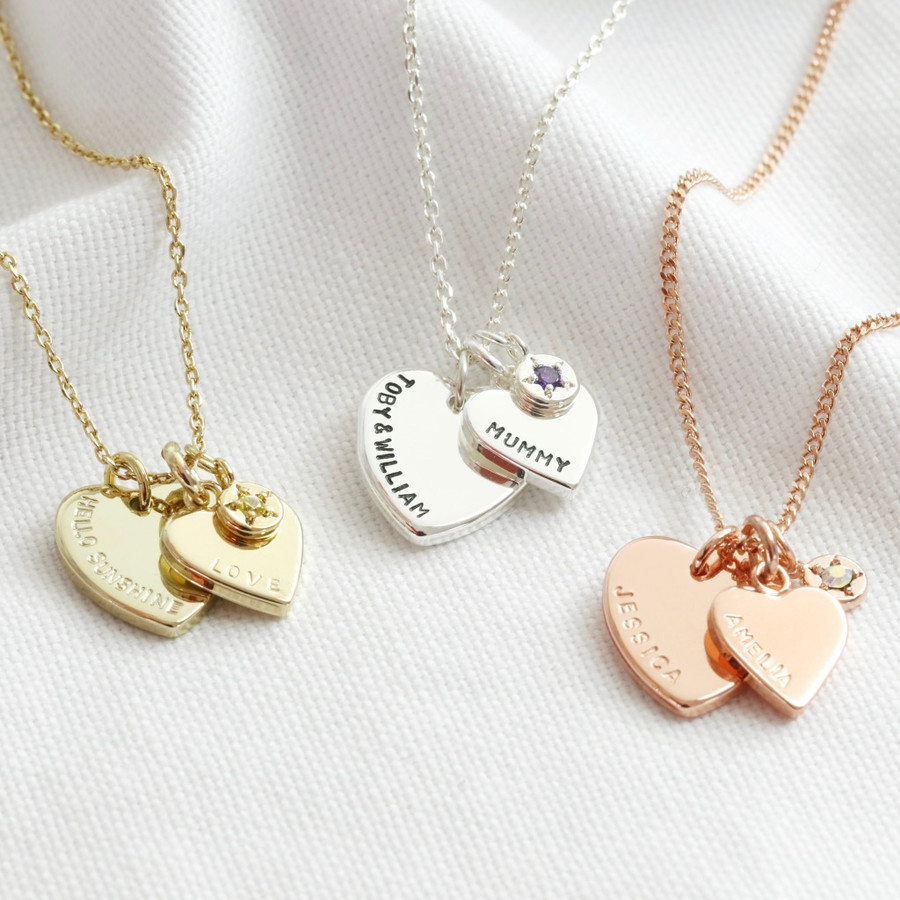 Sterling Silver Personalised Name Necklace With Birthstone Heart Charm on 16 Trace Chain