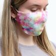Model Wears Lisa Angel Ladies' Pink Tie-Dye Fabric Face Mask