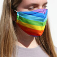 Model Wears Lisa Angel Rainbow Fabric Face Mask with Filters