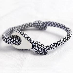 Men's Adjustable Black and White Rope Bracelet