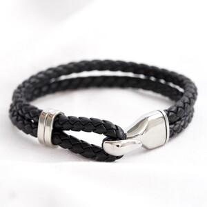 Men's Black Braided Leather and Hook Bracelet - Medium