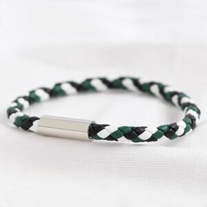 Men's Slim Block Colour Braided Leather Bracelet - Large
