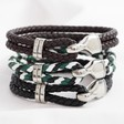 Lisa Angel Men's Braided Leather and Hook Bracelets