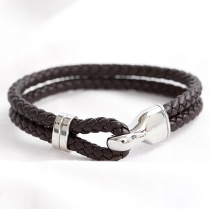 Men's Brown Braided Leather and Hook Bracelet - Large