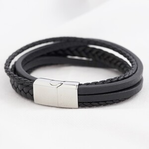 Men's Layered Leather Straps Bracelet in Black - Large