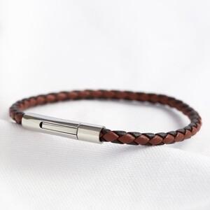 Men's Slim Brown Woven Leather Bracelet - Large