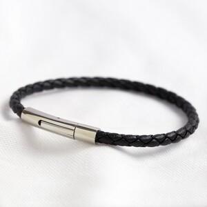 Men's Slim Black Woven Leather Bracelet - Large