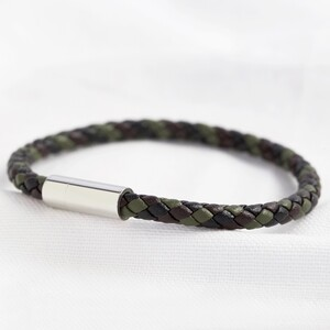 Men's Slim Khaki Braided Leather Bracelet - Large