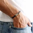 Men's Black Woven Strap Leather Bracelet on Model