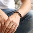 Men's Brown Braided Leather and Hook Bracelet on Model