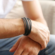 Men's Layered Vegan Leather Straps Bracelet in Black on Model