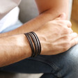 Men's Layered Leather Straps Bracelet in Brown on Model