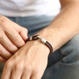 Men's Personalised Brown Braided Leather and Hook Bracelet on Model