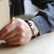 Men's Personalised Leather and Brushed Bar Bracelet on Model