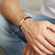 Men's 'Trigger Happy' Leather Bracelet in Black on Model