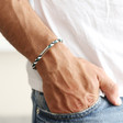 Men's Slim Block Colour Braided Leather Bracelet on Model
