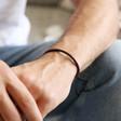 Men's Slim Brown Woven Leather Bracelet on Model