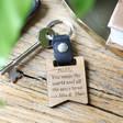 Lisa Angel Black Personalised Wooden Banner Leather Strap Keyring