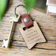 Lisa Angel Brown Personalised Wooden Banner Leather Strap Keyring