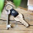 Lisa Angel Engraved Personalised Wooden Key Leather Strap Keyring
