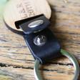 Lisa Angel Black Personalised Wooden Key Leather Strap Keyring