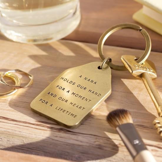 'Nana' Antiqued Brass Keyring
