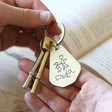 Lisa Angel Cute Personalised 'Your Dad Drawing' Antiqued Brass Keyring